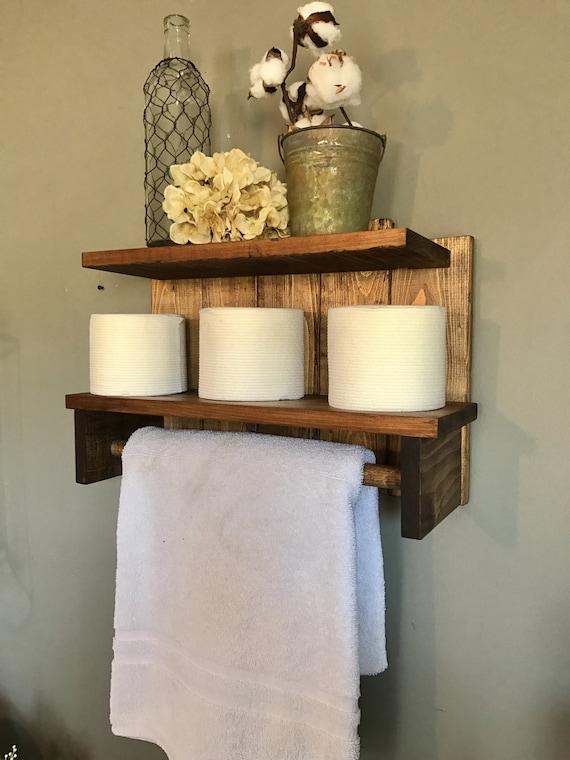 Farmhouse Bathroom, Farmhouse Shelf, Farmhouse Towel Holder, Shelving, Home Decor Farmhouse, Bathroom Shelves, Farmhouse Shelves, Rustic