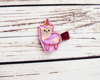 Handcrafted Holographic Pink Llamacorn Feltie Clip - Unicorn Hair Clip - Llama Feltie Clip - Cute Hair Clip - Stocking Stuffer - Baby Girl