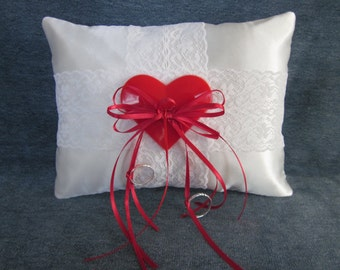 """Wedding ring pillow,white satin,red heart,valentine,lace,6""""x8"""""""
