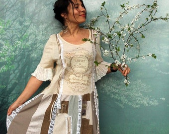 L- L/XL Romantic shabby chic recycled hippie boho  lagenlook tunic dress