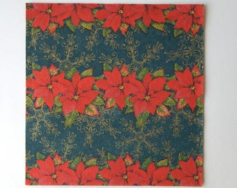 2 red poinsettia paper napkins and Golden arabesques