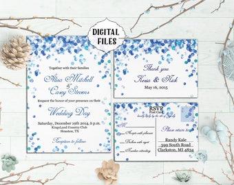 Blue Wedding Invitation, Blue Confetti Wedding Invitation, winter invitations, response card, winter wedding invitation, bokeh, winter
