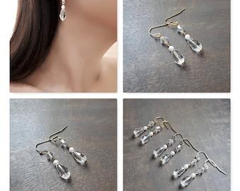 Crystal - Earrings wedding, Swarovski pearls earrings, Crystal earrings, Simple earrings, Pearl drop earrings, Bridesmaids earrings