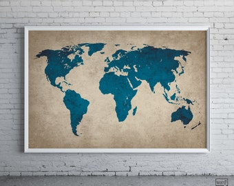 Rustic Navy Blue World Map Old World Map Large World Map Poster Rustic Decor Navy Blue World Map Map Decor Map Art