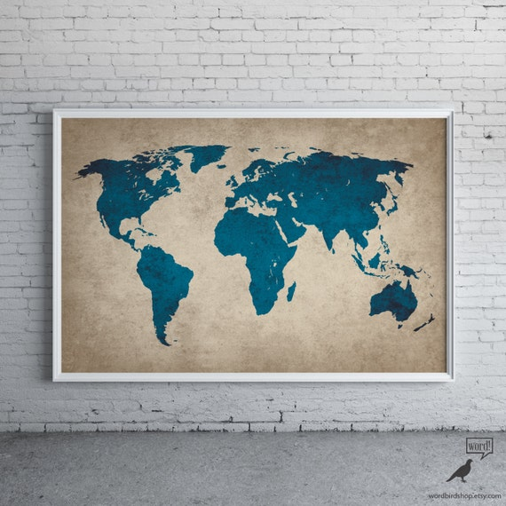 Rustic navy blue world map old world map large world map like this item gumiabroncs Image collections