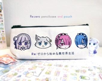 Re:zero pencilcase zipper pouch | Emilia , Puck , Ram , Rem | Re:ゼロから始める異世界生活