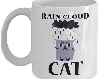 Rain Cloud Cat Mug - Ceramic Mug For Coffee And Tea, 11oz and 15oz, Made In The USA