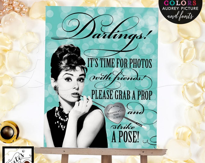 Breakfast at photo booth sign, Audrey Hepburn party supplies, poster, wall art, CUSTOMIZABLE Audrey Picture, Colors & fonts 8x10""