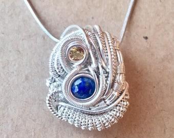 Sterling Silver Wire Wrap Pendant - Heady Wire Wrap - Gemstone Jewelry