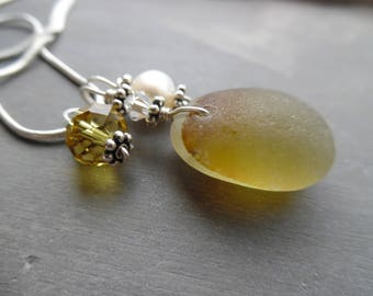 English Sea Glass Necklace Yellow  Beach Seaglass Jewelry Pendant