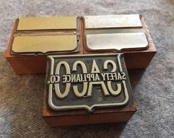 Lot of 3 Vintage Letterpress Printer Block Safety Appliance 2 Color Seal Set
