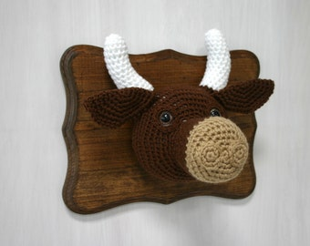Crochet Taxidermy Brown Cow