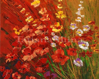 Vibrant floral bouquet canvas print of original flower painting alpine meadows traditional cheerful picture colorful BRIGHTNESS - by Iliina