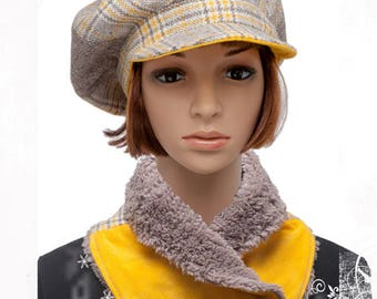 Taupe and yellow plaid newsboy cap - size XL