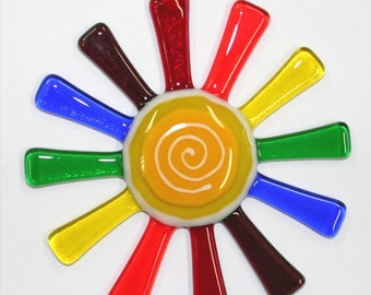 Glassworks Northwest - Brilliant Rainbow Daisy Suncatcher - Fused Glass Suncatcher