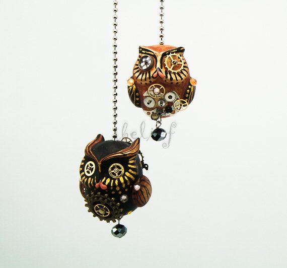 Steampunk both Owls charm hang rear view mirror for car
