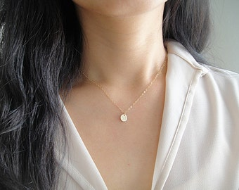 Teeny Tiny Gold Initial Necklace, Personalized Tiny Gold Disc Necklace, Tiny Gold Monogram Necklace, Gold Filled Letter Charm, Minimalist