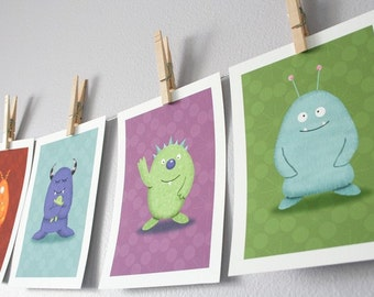 Monster Children Wall Art - Set of 6 Monsters (You Choose) - 5 x 7 Archival Giclee Prints - Kids Wall Art