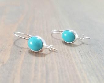 Oval Turquoise Earrings, Light Blue Earrings, Kidney Wire Locking Earrings, December Birthstone Jewelry, Blue Gemstone Drop Earrings