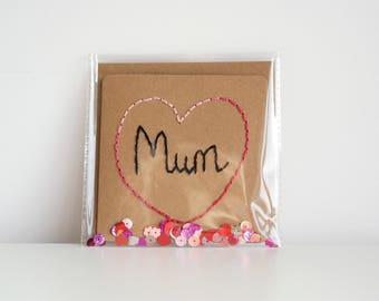 Handmade Card, Mothers Day Card, Mother's Day, Mum Card, Mom Card, Handmade Card For Mum, Cards for Mum, Hand Sewn Card, Embroidered Card