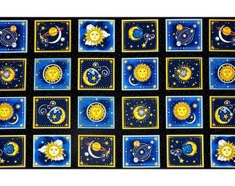 "24"" Fabric Panel - Henry Glass Starlight Zodiac Celestial Moon Blocks Black"