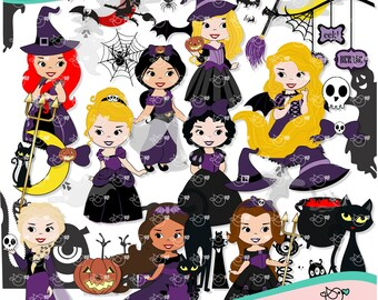 Hallowen Princesses Clipart instant download PNG file - 300 dpi
