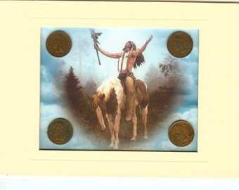Four Indian Head Penny Mini Collection with image of American Indian Praying