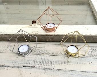 Geometric Decor, Candle Holder, Tea Light Holder, Tea Light Candles, Copper Decor, Outdoor Candle Lantern, Geometric Art, Metal Decor