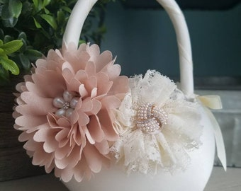 Flower girl basket, Vintage Flower Girl Basket, Blush Flower Girl Basket, Satin Flower Girl Basket, Ivory Flower Girl Basket