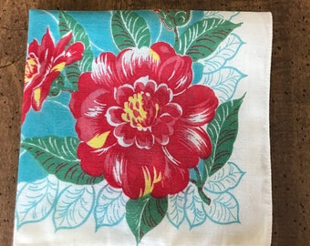 Ladies Cotton Handkerchief Red and Yellow Peonies Turquoise Leaf Background Vintage Hanky