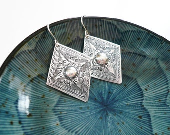Stamped Diamond and Circle Flower Earrings in Tin and Sterling Silver - Diamond Shaped Moroccan Style Earrings
