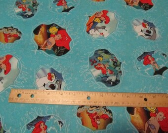 Aqua Blue Little Mermaid  Cotton Fabric by the Yard
