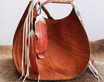 Old Sun Hobo Purse in Horween Vegetable Tanned Double Shoulder with Leather Feathers -- hand painted and stitched by Beargrass Leather