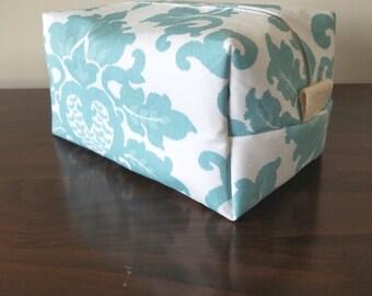 Aqua Damask Makeup Bag - Water Resistant Cosmetic Bag