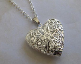 Filigree heart etsy reducedlver filigree locket with silver necklace silver locket heart mozeypictures Image collections