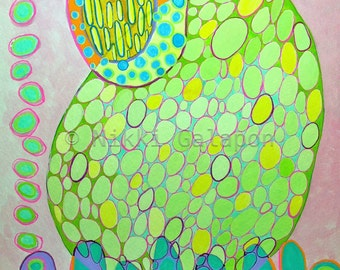 "Abstract Modern Art, Original Gouache painting on paper, 9""x12"", pink green yellow blue orange purple ovals"
