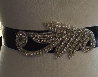 Simple Black Wedding Bridal Belt Sash, Bridal Rhinestone Belt,Wedding Crystal Belt,Wedding sash,Bridal Sash