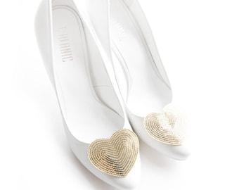 Gold Sequins Hearts Shoe Clips Wedding Shoe Clips Bridal Shoe Clips Mififi Shoe Clips