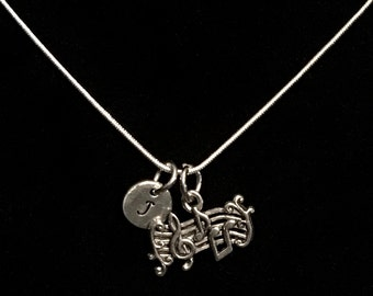 Music Staff Sterling Silver Necklace, Musical Sterling Silver Necklace, Music Teacher Sterling Necklace, Musician Sterling Necklace qb68