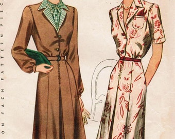 1940s Simplicity 4621 Vintage Sewing Pattern Misses Shirtwaist Dress, Afternoon Dress Size 14 Bust 32