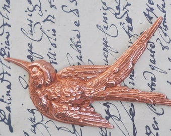 Neo Victorian Hummingbird Brass Stamping, Rose Ox, Victoriana, Victorian Tooling, Craft Supplies by Calliopes Attic