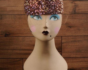 Vintage Hat with sequins and veil