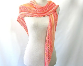 Spring Summer Skinny Triangle Shawl Style Scarf Neckwrap with Beads  -  Mix Fibers Yarn - Coral