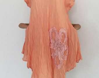CLEARANCE SALE USD20.- (from USD32.-) Loose Fitting Long Light Orange Cotton Shirt..Blouse with Big Flower Embroidery (S-250)