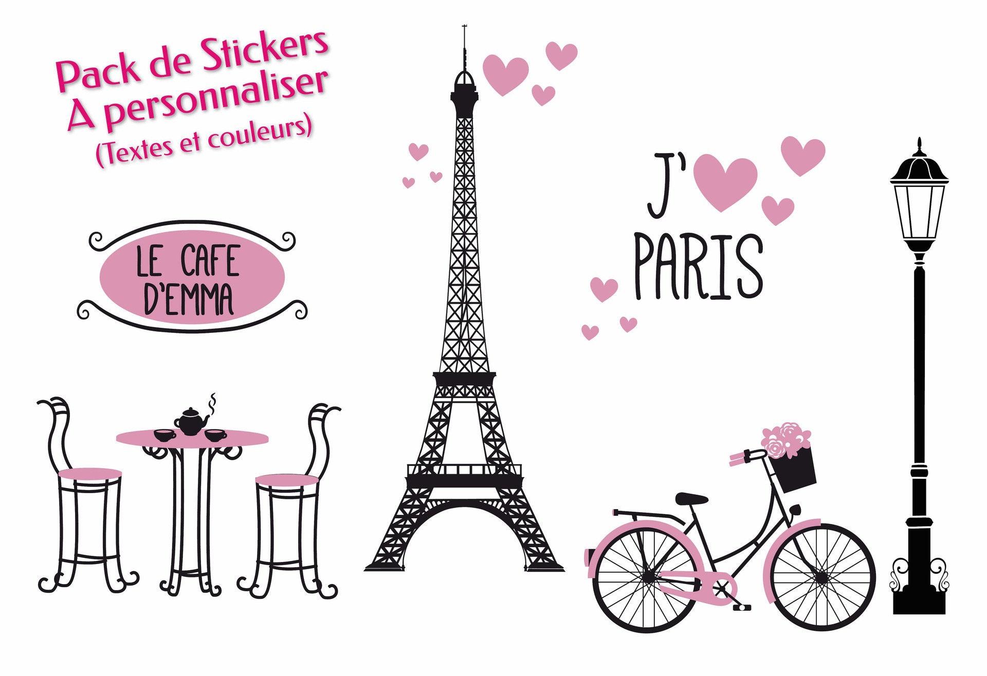 pack stickers muraux personnalisables paris fille. Black Bedroom Furniture Sets. Home Design Ideas