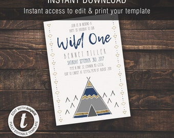 Wild One Boy 1st Birthday | Invitation Template, Boy/Kid Birthday Invite, Printable Invite, Instant Download, Easy to Edit