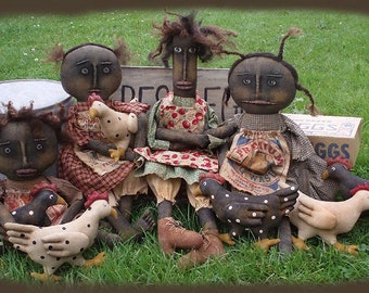 Primitive E- PATTERN Black Dolls and Chickens HenPecked Ladies PDF