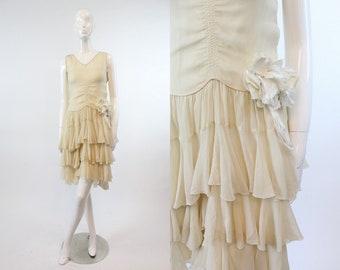 20s Dress Flutter Hem Pannier XXS / 1920s Silk Wedding Dress / Gardens of Versailles Dress