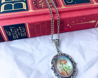 Beauty and the beast necklace - enchanted rose necklace - belle necklace - enchanted rose charm - bookish gift - rainbow rose necklace -