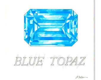 Blue Topaz Watercolor Rendering printed on Canvas